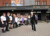 The launch of Our Day Out outside the Royal Court