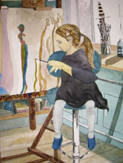 Biba at Adrian's Easel - watercolour on paper - 50x35cm: Willy Russell